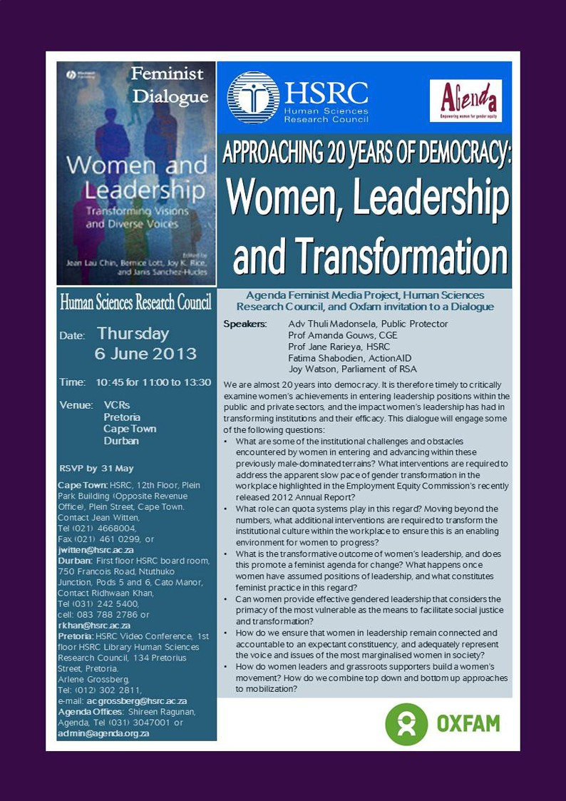 FEMINIST DIALOGUE INVITATION: Women, Leadership and Transformation